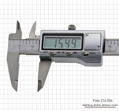Digital caliper, with metal casing, 100 mm