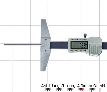 Digital depth caliper with round depth bar, 100 x 100 mm