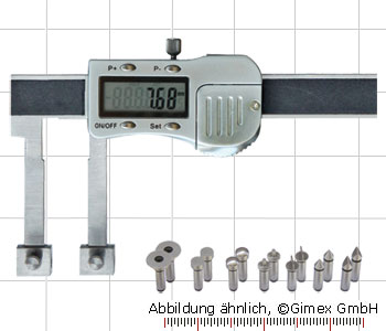 Digital uni caliper with exch. measuring tips, 0-150 mm, M5