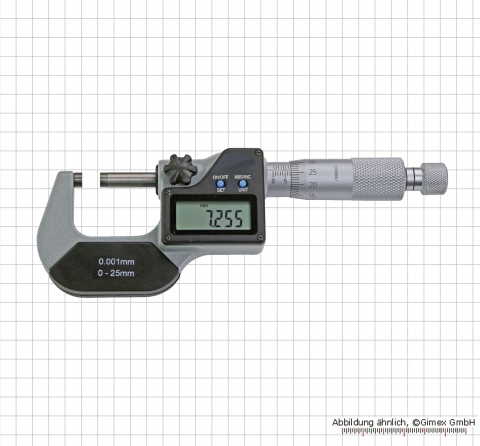 Digital micrometer 0 - 25 mm, ON/OFF/SET+ABS/INC/UNIT