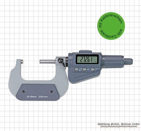 Digital micrometer,  0 - 25 mm with certificate