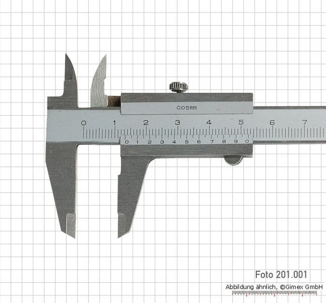 Small vernier caliper, 100 x 0.05 mm, INOX, monoblock, set screw