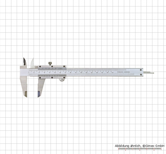 "Vernier caliper, special steel, set screw, 150 x 0,02 mm / 6"" x 1/1000"""