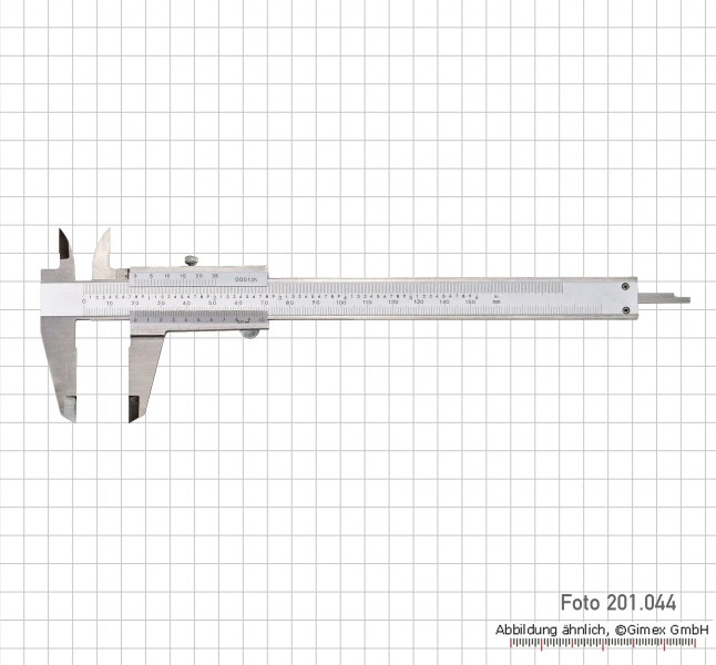 Vernier calipers with set screw, 200x0,02 mm