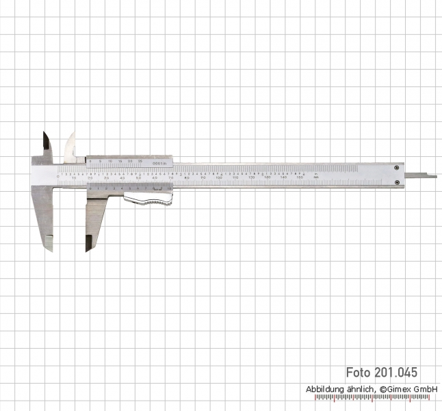 Vernier calipers with auto lock, 200x0,02 mm