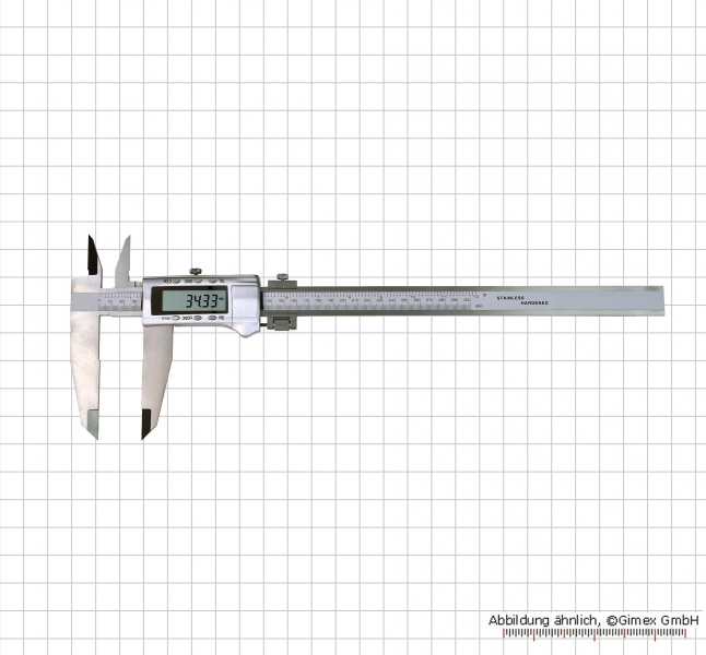Digital control caliper with cross points and knife jaws, 1000 x 150 mm