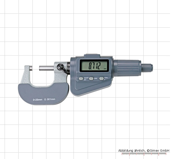 Digital micrometer with friction ratchet,  0 - 25 mm