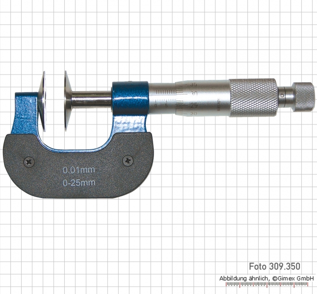 Disc micrometers with no-rotating spindle, 100 - 125 mm, 30 mm d
