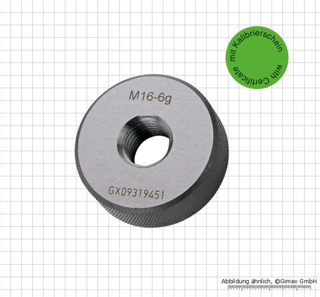 Thread ring gauge with certificate,  M 3 x 0.5